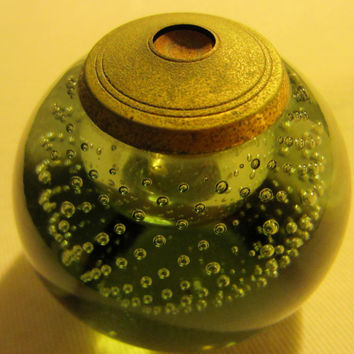Green Glass Controlled Bubbles Paperweight Metal Patina topper