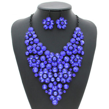 Women Luxury Rhinestone Flower Jewelry Set Necklace with Earrings