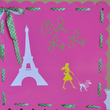 Personalized Magnetic board/ Memo Board/ Pink/ Eiffel Tower/ Message Board