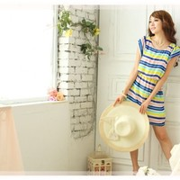 Causal Round Neck Colorful Striped Pattern Flouncing Sleeves Tunic Dress