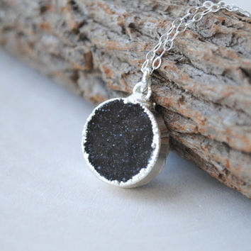 Black Druzy Necklace, Silver Druzy Pendant Necklace, Black Druzy Jewelry