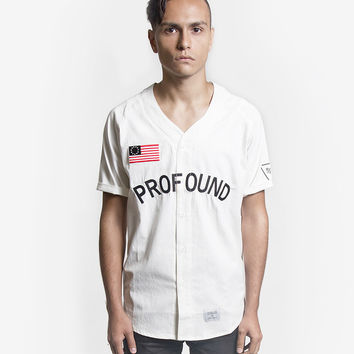 Button-Down Baseball Jersey in Off-White