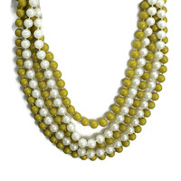 Multi Strand Pearl Necklace Layered Pearl Necklace Pearl Statement Necklace Vintage Assemblage Necklace In White And Chartreuse