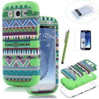 Pandamimi ULAK 3in1 Hybrid High Impact Green Hard cover Aztec Tribal Pattern + Green Silicon Case For Samsung Galaxy S3 i9300 4G Android Phone + Screen Protector + Green Stylus