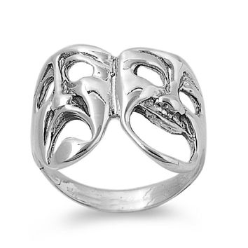 925 Sterling Silver Comedy Tragedy Theatre Mask Ring