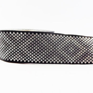 Geometric Dotted Diamond Woven Embroidered Jacquard Trim Ribbon - Black Metallic & Light Silver - 34mm - 1 Meter  or 3.3 Feet or 1.09 Yards