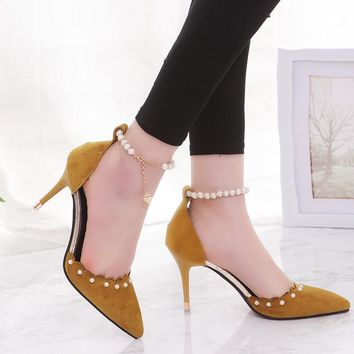 Pointed Toe Low Cut Beads Ankle Beads Middle Stiletto Heel Party Shoes