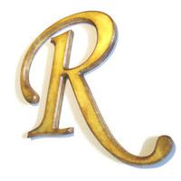 Decorative Wall Letter R antique gold distressed beveled edges, rustic hand painted metallic vintage style