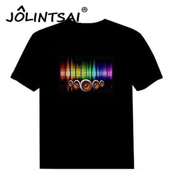 Hot Sale Sound Activated Led Cotton T Shirt Light Up and Down Flashing Equalizer EL T-Shirt Men for Rock Disco Party DJ Top Tee
