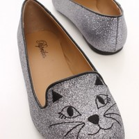 Pewter Glitter Stitched Cat Face Loafer Flats