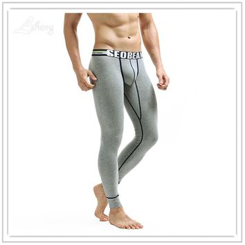 Hot Sale Men's Warm Long Johns Clothes Men Sexy Low Waist Cotton Slim Hip Leggings Tight Pants Male Body Long Pants Underwear