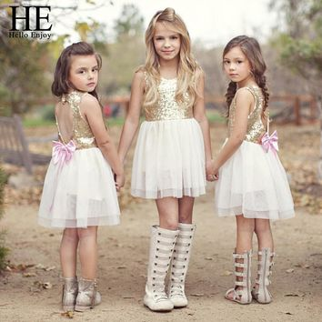 girls Golden Love Backless bow special occasion dress for girls 3-7y