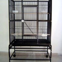 Large Wrought Iron 4 Levels Ferret Chinchilla Sugar Glider Small Animal Cage With Removable Rolling Stand on Wheels *Black Vein*