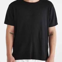 Your Neighbors Short-Sleeve Crew Neck Heavy Knit Tee- Black