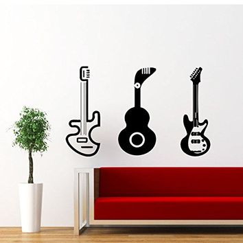Guitar Wall Decal Electro Jazz Musical Instrument Guitars Decals Vinyl Sticker Home Interior Recording Music Studio Wall Decor for Any Room Housewares Mural Design Graphic Bedroom Wall Decal Nursery Baby Kids Children's Room (5939)