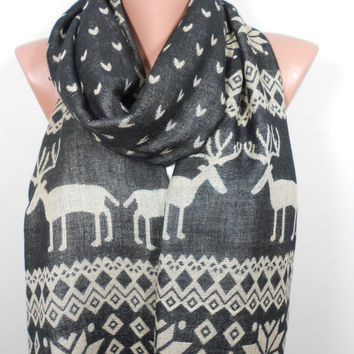 Nordic Scarf Oversize Scarf Men Women Scarf Deer Infinity Scarf Winter Holiday Fashion Accessories Christmas Gift Ideas For Her For Him