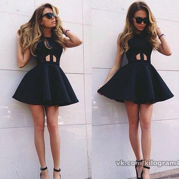 Black Serendipity Skater Dress