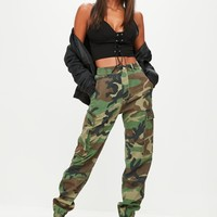 Missguided - Green Camo Printed Cargo Pants