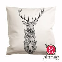 Deer Wolf Bear Cushion Case / Pillow Case