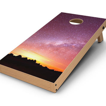 Beautiful Milky Way Sunset CornHole Board Skin Decal Kit