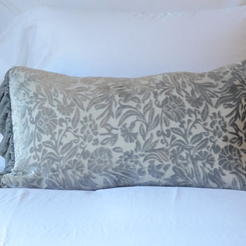 New Primrose Accent Throw Pillow with Silk Velvet Ruffle in PEBBLE