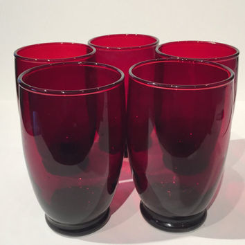 Ruby Red Tumblers Set of 5 Drinking Glasses, Vintage Royal Ruby Red Glass Tumblers, Round Red Footed Tumblers, Ruby Red Mid Century Glasses