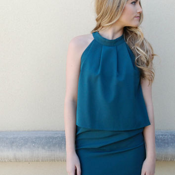 C. Luce - Tiered Halter Dress - Green