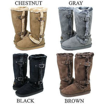 New Women's Mid Calf Buckle Winter Snow Fur Faux Suede Fashion Boots Size 5 -10