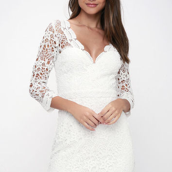 Rainey White Lace Long Sleeve Bodycon Dress