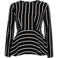 Black stripe frill hem long sleeve blouse - Blouses - Tops - women