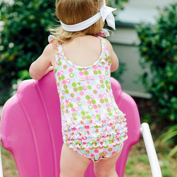 Ruffle Butts Tic Tac Heart Snap Swimsuit