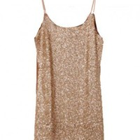 Sequin Tank with Spaghetti Chain Straps
