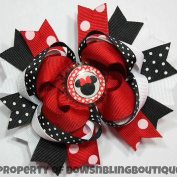 Minnie Mouse Red Hair bow Set Boutique Bows