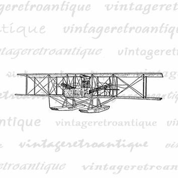 Digital Image Seaplane Printable Vintage Airplane Graphic Biplane Illustration Download Antique Clip Art Jpg Png Eps  HQ 300dpi No.959