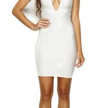 Take the Plunge White Bandage Deep V Neck Sleeveless Spaghetti Strap Sexy Evening Short Mini Dress