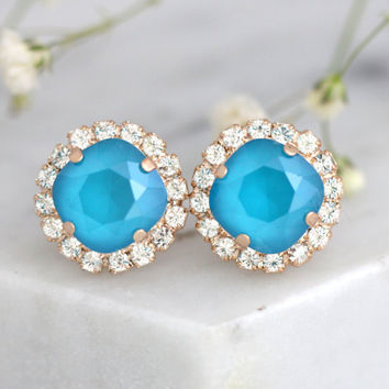 Blue Earrings, Bridal Blue Sky Earrings, Blue teal Crystal Swarovski Earrings, Bridesmaids Earrings, Sky Blue Earrings, Bridal Blue Earrings