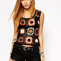 Glamorous Colored Crochet Sweater Vest