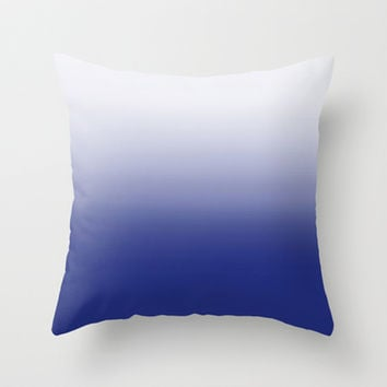Dip Dye Ombre (blue) Throw Pillow by Natalie Baca