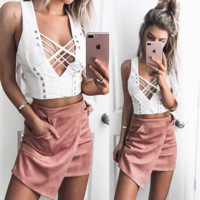 Women Fashion Deep V-Neck Bandage Solid Color Sleeveless Vest Crop Tops