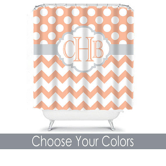 Peach Gray Shower Curtain Monogram Name From
