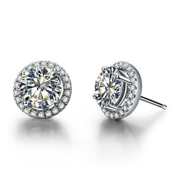 Grandeur Luxury 0.5CT/Piece White Gold Synthetic Halo Stud Earrings for Women by Ritzy