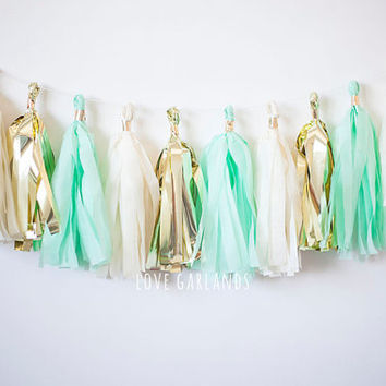 Ivory Gold Mint Tassel Garland, Mint Tassel Garland, Mint Gold Tassel Garland, Mint Garland, Mint Baby Shower, Mint Bridal Shower