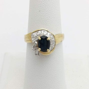 Blue Sapphire with Baguette and Round Diamonds Yellow Gold Ring by Luxinelle®Jewelry