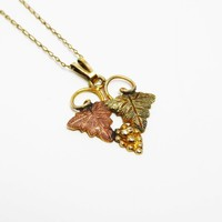 Black Hills Gold Lavaliere Pendant & Gold Chain Necklace  Rose Gold Leaf, Gold Leaves and Grapes Vintage 1980's 1990's BHG Jewelry