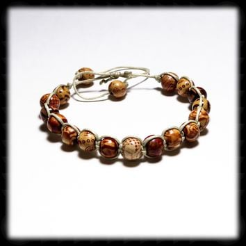 Micro Macrame Adjustable Size Bracelet with Wood Beads