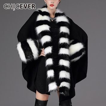 CHICEVER Winter Hit Colors Sweater Female Cardigan Fur Collar Loose Oversize Thick Cloak Cardigans Fashion Casual Clothes