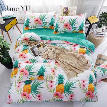 JaneYU 4pcs Microfiber Fabric Fruit print pineapple bedding sets 3D queen size duvet cover parure lit housse de couette