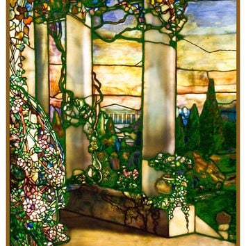Greek Temple inspired by the work of Art Nouveau and Stained Glass Artist Louis Comfort Tiffany  Counted Cross Stitch Pattern