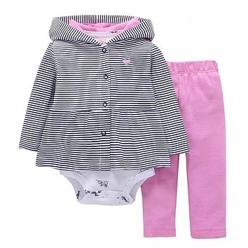 2017 new baby girls clothes bodys bebes cotton hooded cardigan+trousers+bodysuit 3piece newborn baby clothing set