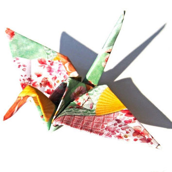 Fan Print Origami Cranes (50) , Cherry Blossom Japanese Fan Pattern , Paper Cranes with Sakura Flower Print in Green, Yellow, Pink Cardstock